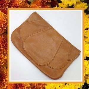 Vintage Lestrade Cognac Soft Leather Clutch 70s